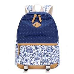 Fresh Floral  Canvas Travel Backpack Polka Dot Leisure Backpack&Schoolbag