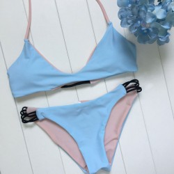 Blue And Pink  Wear Bikini Set Swimsuit Split Sided Swimwear Bathingsuit