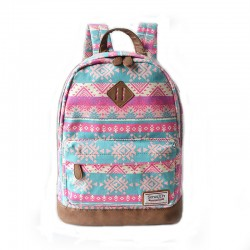 Fashion Pink Snowflake Geometry Totem Rucksack Travel Backpack Schoolbag