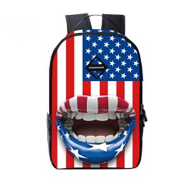 American Flag Big Mouth Backpack Travel Backpack Schoolbag