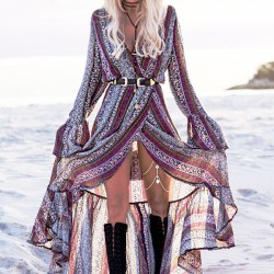 Bohemian Printing Full-lengh Women's V-neck Long Sleeves Dress With Belt