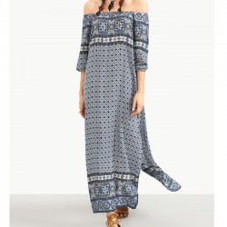 Bohemian Printing Lateral Women's Horizontal Neck Split Dress