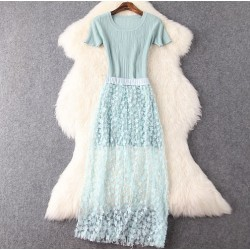Fashion Slim Round Neck Knit Gauze Dress+ Applique Long Skirt&Party Dress