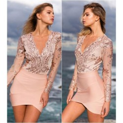 Fashion Deep V Neck Flower Sequins Long Sleeve Blouse