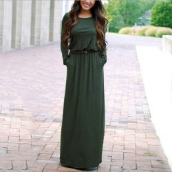 Simple Style  Maxi Pocket Slim Round Neck Waist Long Sleeve Dress With Belt