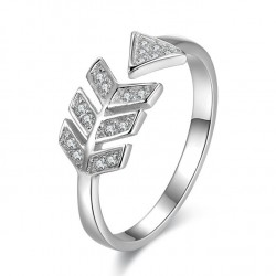 Romantic Love Arrow Silver Ring Diamond Feather Silver Open Ring
