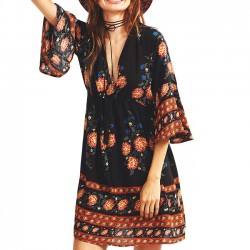 Three-quarter Length Trumpet sleeves National Style Printing Dress