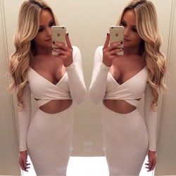 Sexy Hollow Dress Long-sleeved Irregular Night Club Chest Cross Dress
