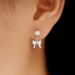 Lovely Crystal Bow Silver Earrings Studs
