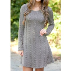 Sweet Twist Weave Round Neck Long-sleeved knitted Thickening Sweater Dress