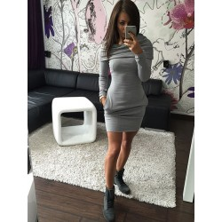 Fashion Hooded Hip long - sleeved Sweater Slim Dress