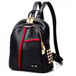 Punk Black Contrast Color PU Red Black Stripe Rivet Student Small Backpack