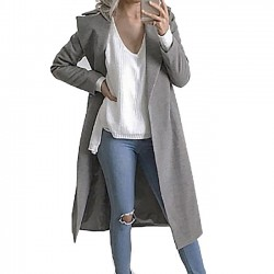 New Woolen Coat Wide Lapel Whole Color Wool Simple Style Women's Fall Long-style Overcoat