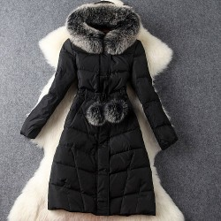 Super Fox Fur Collar Hooded Long Down Jackets Winter Overcoat Outwear Winter jacket