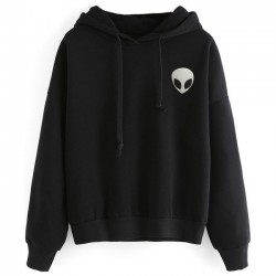 Unique Alien Gun Printing Hoodie Pullover Long Sleeves Women Sweater