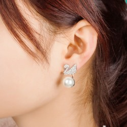 Unique Swan Hanging Pearl Ear Drop Shining Animal Earring Studs