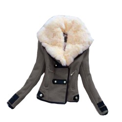 Nicee Large Plush Collar Slim Short Jacket Biker Jacket