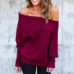 Sexy Off Shoulder Bat Long Sleeve Pure Color Women's Coat Sweater