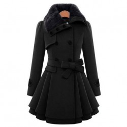 Women 's Woolen Coat  Thicker Coat Double - Breasted Windbreaker Winter Dress