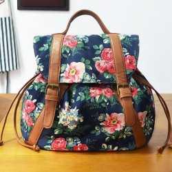 Retro Folk Flower Drawstring National Bag Leisure Small Backpacks