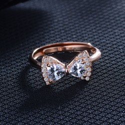Cute Bow Ring Temperament Diamond Adjustable Ring
