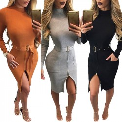 Fashion Splicing Bodycon Dresses With Belt Long Sleeves Turtleneck Tight Split Dress