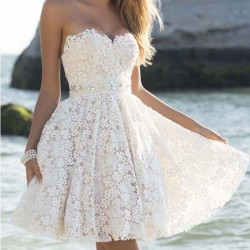 Elegant Strapless Party Women's A Line Flower Lace Prom Short Dresses