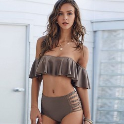 New Lotus lace Split  Bikini Set Coffee Swimsuit