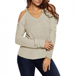 Whole Color Strapless Longer Fashion Women's V-neck  Rear Sexy Sweater