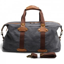 Retro Large Capacity Handbag Splicing Leather Zipper Belt Luggage Bag Canvas Travel Shoulder Bags
