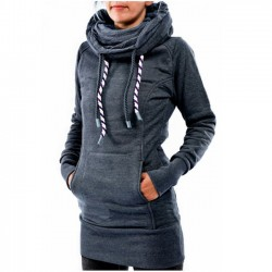 Leisure Heaps Collar Hooded Long-sleeve Pocket Embroidered Fleece Long Pullover Women's Sweater
