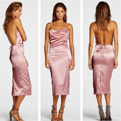Sexy Nice Pink Halter Straps Backless Dress