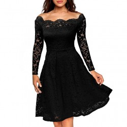 Elegant Sexy Lace Strapless Boat Neck Crochet Dress Party Dress