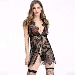 Sexy Chemise See Through Lace Stitching Robe Sleepwear Women's Lingerie