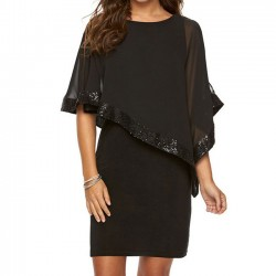 Leisure Black Chiffon Splicing Sequins Shawl Women's Dress