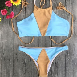 Sexy Mixed Color Split Swimsuit Triangle Bikini
