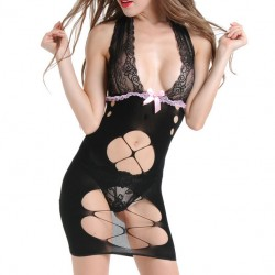 Sexy Women's Mesh See Through Lace Hollowed-out Deep V-neck Bow Backless Braces Dress Lingerie
