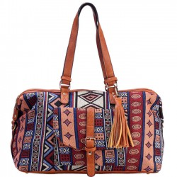 Original Geometric Patterns Printing Splicing PU Belt Large Travel Bag Folk Tassel Canvas Shoulder Bag
