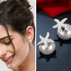 Cute Crystal Diamond-bordered Starfish Amphibious Pearl Women's Silver Earring Studs