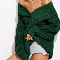 V-neck Wild Boat Neck Whole Color Fashion Women's Spring/Autumn Thickening Sweater Dress