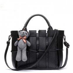 Retro Bear Weave Shoulder Bag Messenger Bag Handbag Ladies Bag