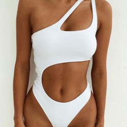 Sexy One Shoulder Irregular Sling Conjoined Bikinis Summer Swimsuit