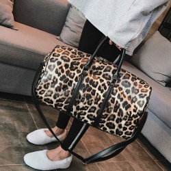 Leisure Leopard Cylindrical Messenger Bag PU Handbag Drum Shoulder Bag