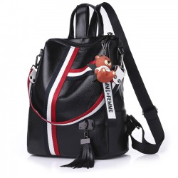 Leisure Stripe Tassel Multi-function Shoulder Bag School Bag Contrast Color Square PU Backpack
