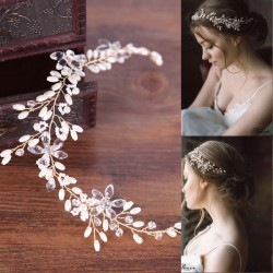 Cute Leaves Pearl Wedding Hair Chain Branch Headband Hair Accessories