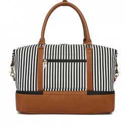 Leisure Women's Travel Tote Stripe Canvas Luggage Bag Handbag Striped Splice Shoulder Bag
