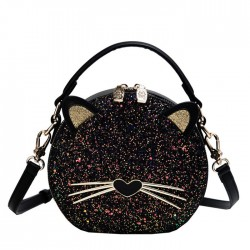 Cute Kitten Sequin Black Cat Lady's Shoulder Bag Bucket Bag