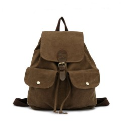 Fashion Leather High-density Canvas Casual Backpack