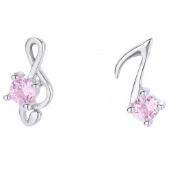 Unique Asymmetrical G-clef Musical Note Pink Crystal Earring Studs Music Silver Earrings