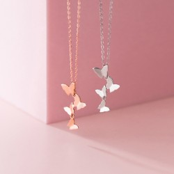 Sweet Multi-layer Butterfly Pendant Chain 925 Silver Personalized Jewelry Women Necklace